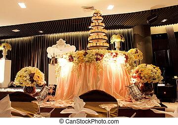 casório, cupcake, decorado, um, flor