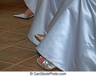 casório, -, dama honra, pés