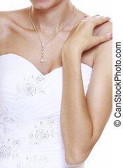 casório, day., noiva, em, vestido branco, isolado
