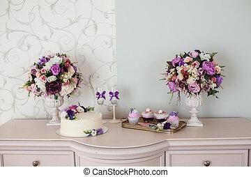 casório, decorations., buquês, de, flores, e, bolo