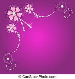 casório, floral, cartão