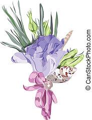 casório, floral, decoração, com, eustoma.