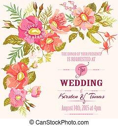 casório, -, floral, vetorial, convite, data, salvar, cartão