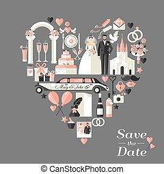casório, heart., cartão, convite