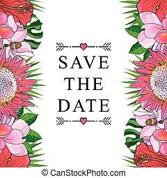 casório, isolado, tropicais, experiência., convite, flores brancas, borda