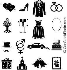casório, jogo, ícones