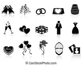 casório, jogo, pretas, ícones