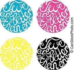 casório, lettering, quatro, elemento, desenho, cores