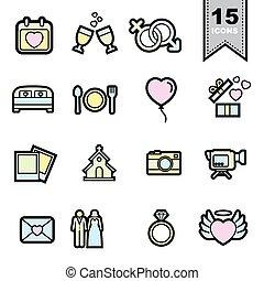 casório, linha, jogo, amor, ícones