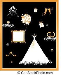 casório, loja, vestido branco, e, acessório