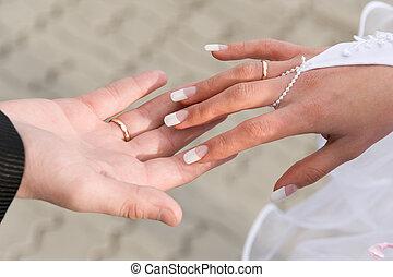 casório, mãos