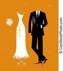 casório, noivo, paleto, e, noiva, vestido, para, seu, desenho