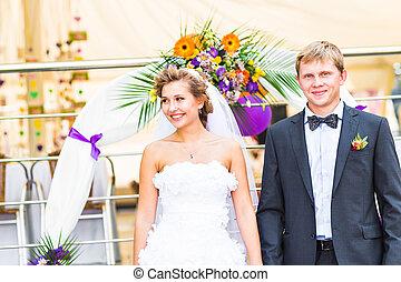 casório, noivo, recepção, noiva