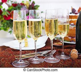 casório, partido., champanhe, pronto, para, partido