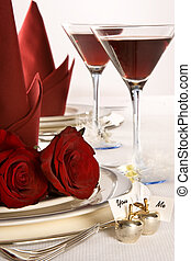 casório, tabela, rosas
