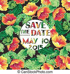 casório, vindima, convite, cartão, com, padrão floral, -, em, vetorial
