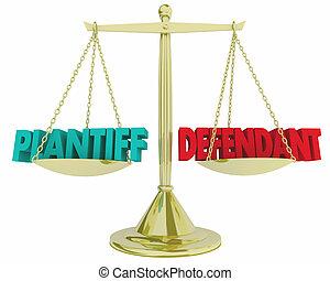 cas, échelle, tribunal, plaignant, légal, justice, vs, illustration, droit & loi, défendeur, 3d