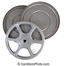 cas, 8mm, film, métal, étain, vendange, bobine