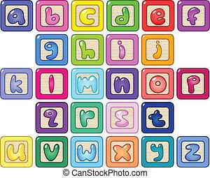 cas, alphabet, inférieur, blocs