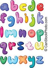 cas, alphabet, inférieur, bulle, 3d