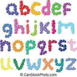 cas, alphabet, inférieur, bulles