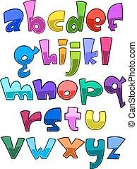 cas, alphabet, inférieur, clair, dessin animé