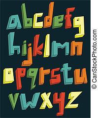 cas, alphabet, inférieur, coloré, 3d