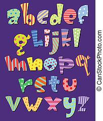 cas, alphabet, inférieur, comique