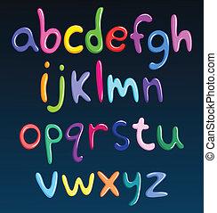 cas, alphabet, inférieur, spaghetti, coloré
