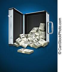 cas, argent, dollars, concept