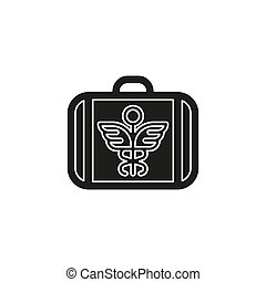 cas, boîte, urgence, kit, monde médical, -, signe, vecteur, assurance, aide, symbole, premier