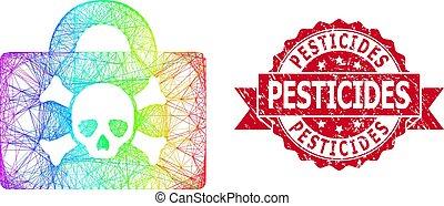 cas, cachet, textured, filet, pesticides, multicolore, ...