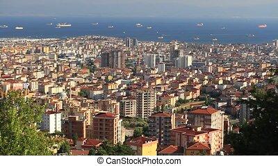 cas, centre ville, entiers, city., métropolitain, étendre, loin, étude, il, bosporus., districts, béton, longueur, long, istanbul's