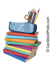 cas, crayon, école, coloré, livres, education, pile