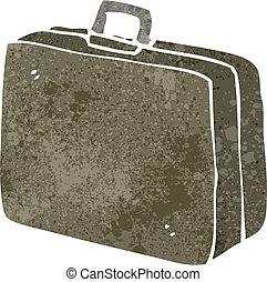 cas, dessin animé, retro, bagage