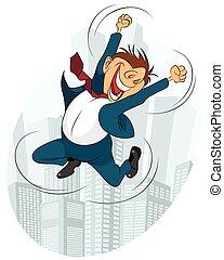 cas, homme affaires, sauter