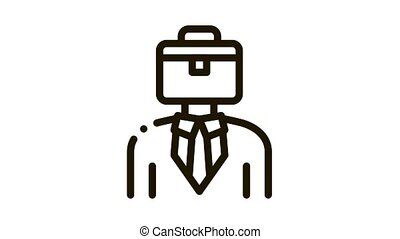 cas, icône, tête, homme affaires, animation