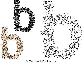 cas, inférieur, b, éléments, lettre, floral
