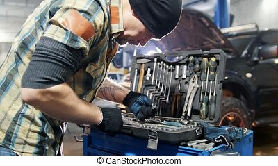 cas, mécanicien, service., voiture, outillage, choisir, homme