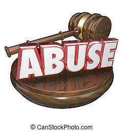 cas, mot, justice, marteau, abus, juge, tribunal, criminel, 3d
