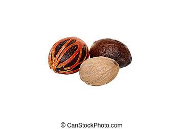 cas, nutmegs, macis, -, trois, graine, couvert, entier