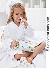 cas, peu, grippe, gouttes nez, mauvais, utilisation, girl