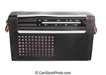 cas, radio, vieux, soviétique, portable, cuir
