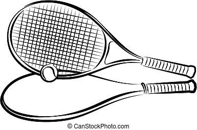cas, raquette, boule tennis