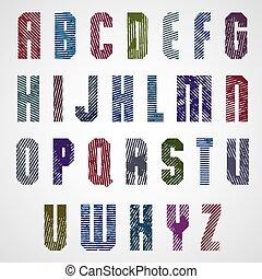 cas, supérieur, grunge, coloré, frotté, lettres, arrière-plan., décoratif, blanc, police