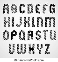 cas, supérieur, grunge, frotté, lettres, décoratif, noir, blanc, fon