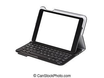 cas, touchscreen, intérieur, tablette, clavier