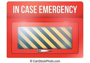 cas, urgence, vide, boîte, rouges