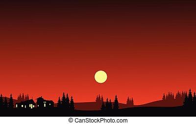 casa, à noite, em, colinas, silueta