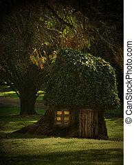 casa, árbol